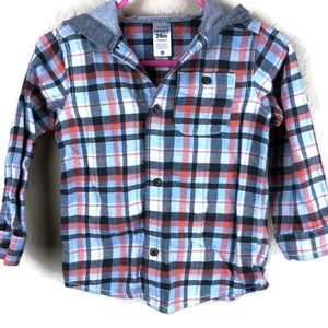 Carters Boys Flannel Hooded Shirt, Plaid 24 Month